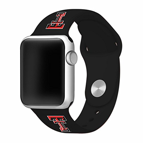 (Texas Tech Red Raiders Silicone Sport Band for Apple Watch - 38mm BLK)