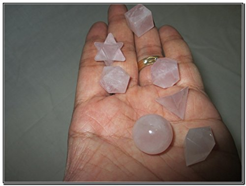 Geometry Fountain - Jet Wow A++ Rose Quartz 7 Stones Sacred Geometry Sets Gemstone Platonic Solid Top Grade Quality Merkaba Star