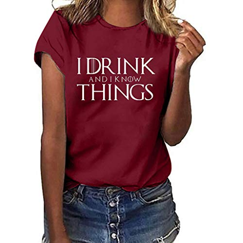 Respctful✿Women Blouse Summer Short Sleeve Cotton Tunic Tops Casual Loose Tees Shirt I Drink Things Printed Plus Clothing Wine