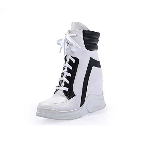 Allhqfashion Mujeres High-heels Round Toe Blend Materiales Low-top Botas Blanco