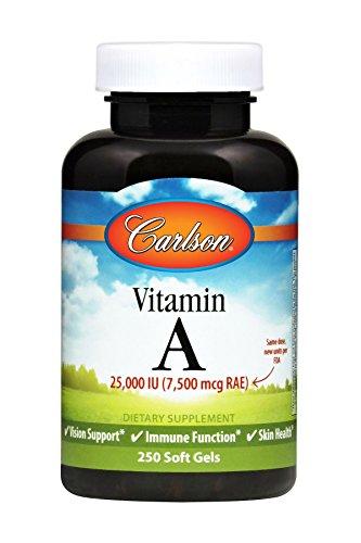 Carlson Vitamin A 25,000 IU, Vision + Skin Health, 250 Soft Gels