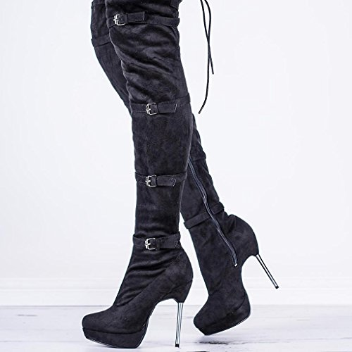 Stiletto Heel Buckle Lace Up Over Knee Platform Boots Black Synthetic Suede US 5