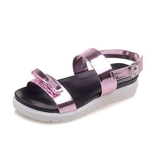 AmoonyFashion Womens Soft Material Open-Toe Low-heels Buckle Solid Sandals Pink OLWs5N