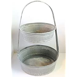 Rustic French Farmhouse 2 Tier Egg Crafts Garden Apple Basket Kitchen Bath Handled Storage Tote