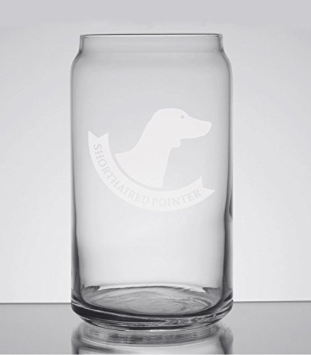 - Shorthaired Pointer Banner Breed Pride 16oz Can Glass - Hand Etched - Made in the USA, Great for gifts