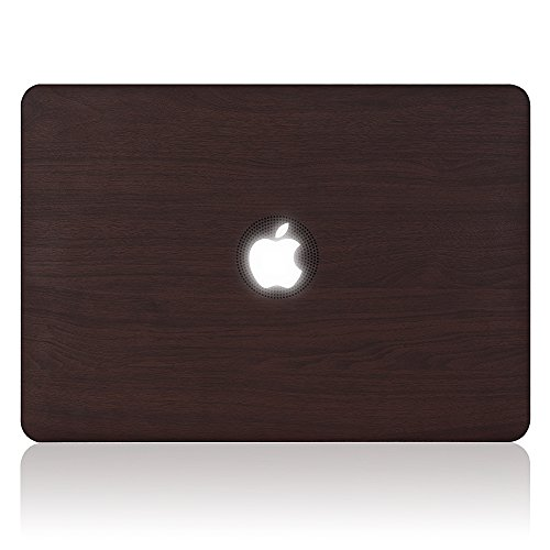 iDonzon Wooden Texture Soft PU Leather Coated See Through Case Cover Only for MacBook Pro 15 inch with Retina Display NO CD-ROM (Model: A1398) [2012-2015 Release] - Brown (Second Skin Wood)