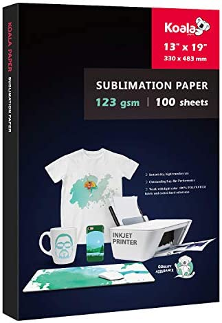 Koala Sublimation Heat Transfer Paper 13X19 Inches for Inkjet Printer Compatible with Sublimation Ink 100 Sheets