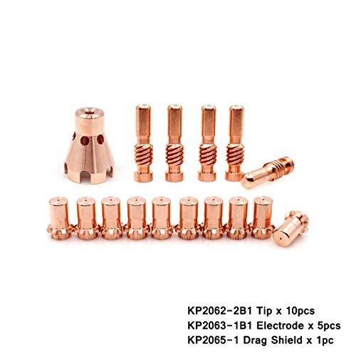 WeldingStop KP2063-1B1 Electrodes Tip Nozzle KP2062-2B1 Drag Shield KP2065-1 Fit Lincoln Electric PRO-Cut 55 80 Torch PKG-16