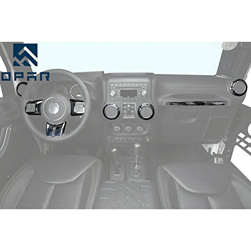 Opar Silver Steering Wheel & Air Conditioning Vent & Copilot Handle Cover Trim Kit for 2011 - 2018 Jeep JK Wrangler & Unlimited