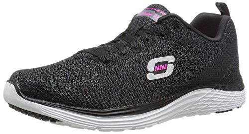 Skechers Valeris Negro Blanco Rosa Mujeres Capacitadores Zapatos