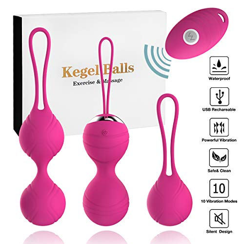 Love Remote Control - Abandship 2 in 1 Kegel Balls Kit - Massager Ben Wa Balls for Women & Silicone Wireless Remote Control Massager Rechargeable & Pelvic Floor Exercises Kegel Exercise Weights Kit (Pink)