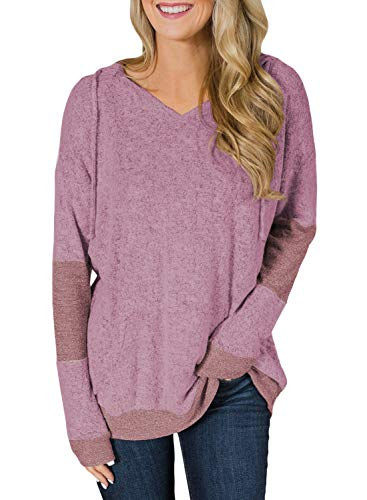 - HOTAPEI Ladies Plus Size Fashion Cozy Fall Pullover Hoodie Sweatshirt Loose V-Neck Knit Long Sleeve Tunic Shirt Blouses Sweaters for Women Winter Pink XXL