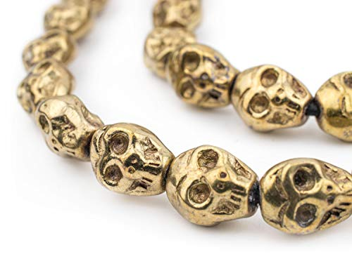 TheBeadChest Brass Skull Beads, Solid Plated-Brass Metal Halloween - Great DIY Accessories for Necklace, Bracelets and Earrings Making
