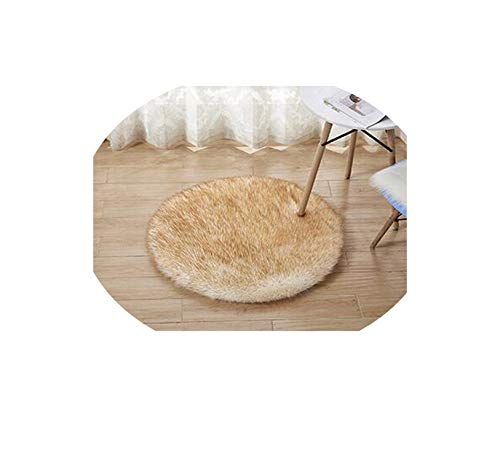Washable Sheepskin Wool Carpet Chair Cover Bedroom Faux Mat Seat Pad,White Yellow Hairy,Diameter 30cm -