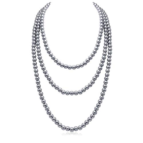 So Pretty Gray Long Pearl Necklace for Women Layered Faux Pearls Strand Necklace Costume Jewelry, 69