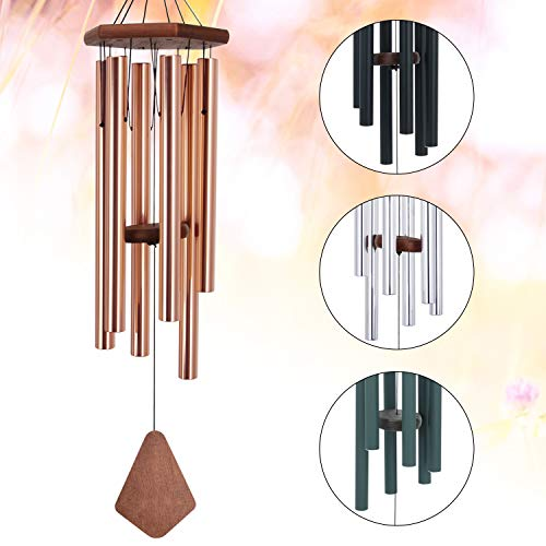 Amazing Grace Wind Chimes Large,36Inch Sympathy Wind Chime Outdoor Deep Tone with 6 Beautiful Tubes,Perfect Memorial Wind Chime for Mom Women Girls, Rose Golden(A Free Card) -