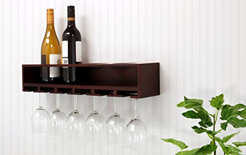 nexxt Claret Wine Bottle and Glass Holder Wall Shelf, 21-Inch by 4.25-Inch, Espresso (Shelving For Glasses compare prices)