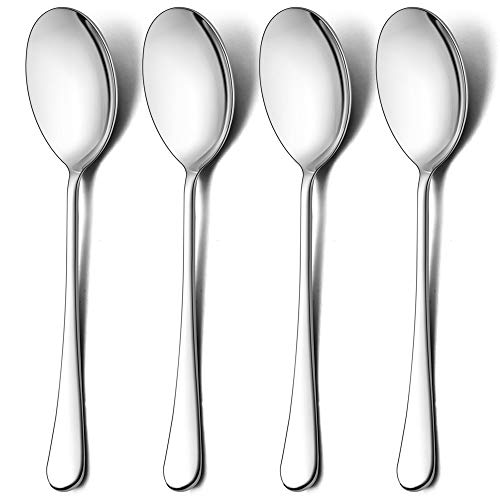 LIANYU Serving Spoons Set of 12, 9.8-Inch Stainless Steel Large Party Buffet Catering Dinner Serving Spoon, Mirror Finish, Dishwasher Safe