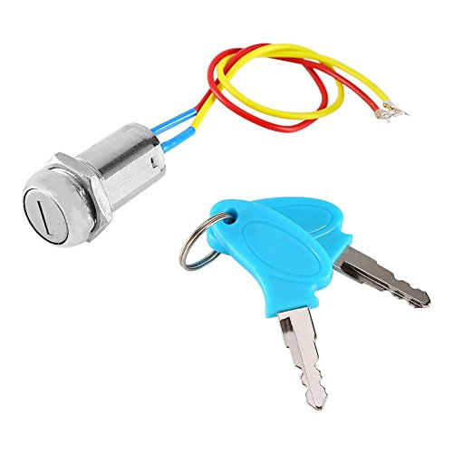 2 Wires Ignition Switch Key Starter Switch with 2 Keys On-Off for Electric Scooter ATV Moped Go Kart (Keyed On Off Switch)