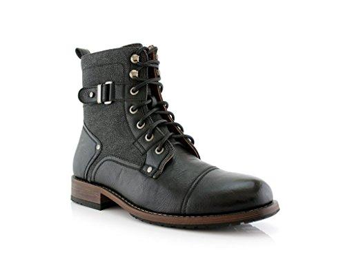 Mens 919686 Tall Lace Up Denim Military Style Army Dress Boots Black oTmreA5f