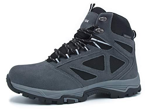 (Knixmax Men's Waterproof Hiking Boots Lightweight Trekking Shoes High Top Non Slip Outdoor Walking Boots Grey 8)