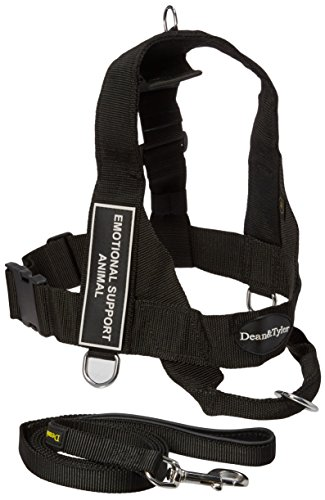 Dean and Tyler Bundle One DT Universal Harness, Emotional Support Animal, Medium + One Padded Puppy Leash, 6-Feet Stainless Steel Snap, Black by Dean & Tyler
