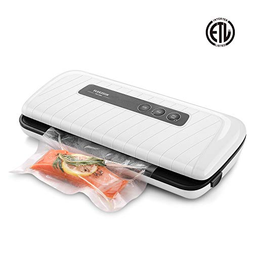 Flexzion Vacuum Sealer - Automatic Vacuum Air Sealing Machine System with Bags, Rolls, Vacuum Hose Starter Kit for Dry, Moist, Fresh Foods Storage, Food Preservation Saver, Sous Vide (White)