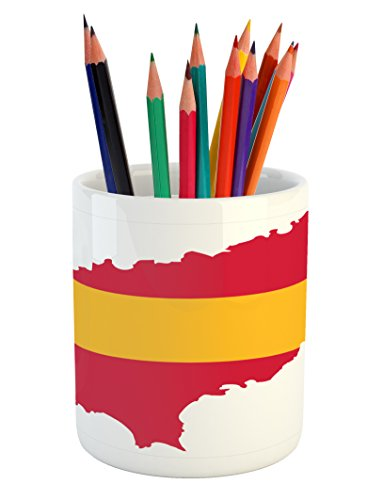 Lunarable Ibiza Pencil Pen Holder, Balearic Island Map with Spain Flag Pattern Exotic Ibiza Holiday Theme, Printed Ceramic Pencil Pen Holder for Desk Office Accessory, Yellow and Dark Coral by Lunarable