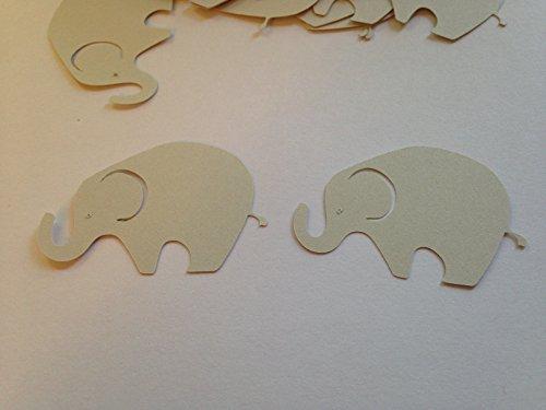 50 Large Light Gray Elephant Cutout 2 Inch Elephant Die Cut Embellishment Cupcake Topper