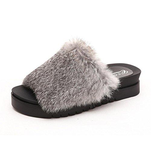 OverDose Damen Breathable Thick Bottom Sliders Flauschige Faux Plüsch Flache Slipper Flip Flop Sandalen Freizeit Slipper A-Light Gray