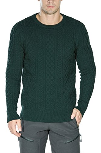 - Rocorose Men's Cable Knit Sweater Long Sleeves Crewneck Green M