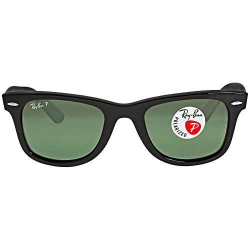 Ray Ban Wayfarer Polarized Sunglasses 2140 (Black Frame Crystal Green - Ban Rb2140 Wayfarer Ray 901