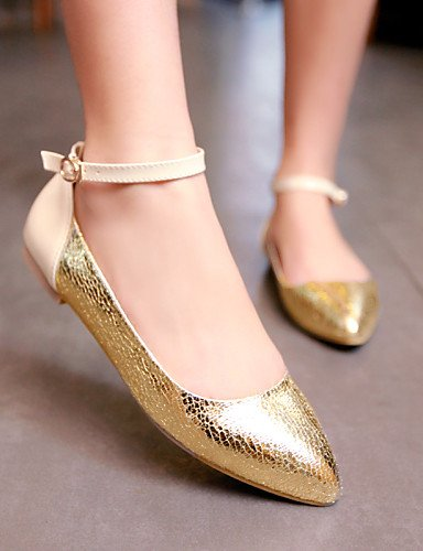 De Piel us6 oro Silver Zapatos Uk4 Flats Sintética Casual Plano de 5 5 Mujer 7 Toe Cn37 Pdx 5 Talón Eu37 Punta Plata qSEW4Fw