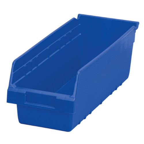 Akro-Mils 30098 ShelfMax Plastic Nesting Shelf Bin Box, 18-Inch Length x 6.75 Inch Width x 6-Inch Height, Case of 10, (Top Bin)