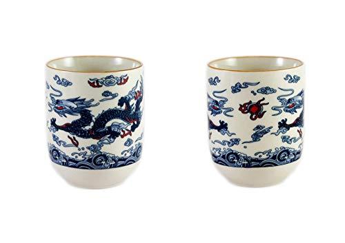 Dragon Diseno Chino Te Taza - 2X Azul