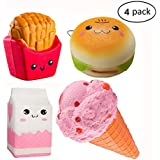 Fancystyle Squishies Slow Rising Toys Squishies Jumbo Kawaii Squishy Toys Scented Squishies Hamburger Chips Ice Cream Milk Pack of 4