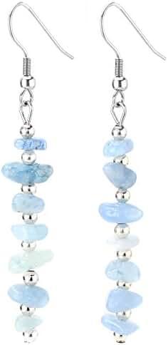 Birthday Stone Chip Crystal Gemstones Semi Precious Beaded Dangle Earrings, Long with Fish Hook, Hypoallergenic