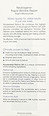 Neutrogena Rapid Wrinkle Repair Accelerated Hyaluronic Acid Retinol Night Cream Face Moisturizer, Anti Wrinkle Face Cream & Neck Cream with Hyaluronic Acid, Retinol & Glycerin, 1 fl. oz