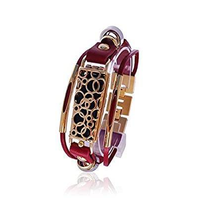 Fitbit Bracelet SOMA - FitBit flex Jewelry - Red/ Gold - stainless steel - real leather