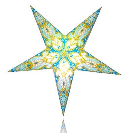 Happy Sales HSSL-FATQYB Frozen Aurora Paper Star Lantern Turquoise Yellow, by Happy Sales