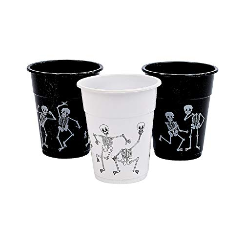 Fun Express - Skeleton Printed Disposable Cups (50pc) for Halloween - Party Supplies - Drinkware - Disposable Cups - Halloween - 50 Pieces