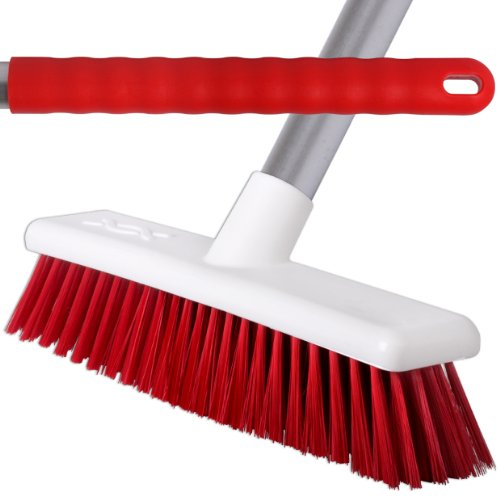 2 Pack Of 45cm Red Soft Hygiene Sweeping Brushes With 125cm Handles For Home & Industrial Floors - Comes With TCH Anti-Bacterial Pen! Robert Scott