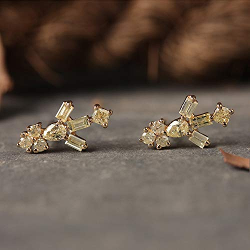 Genuine Pear, Round & Baguette Diamond Stud Earrings Solid 14k Yellow Gold Handmade Fine Jewelry