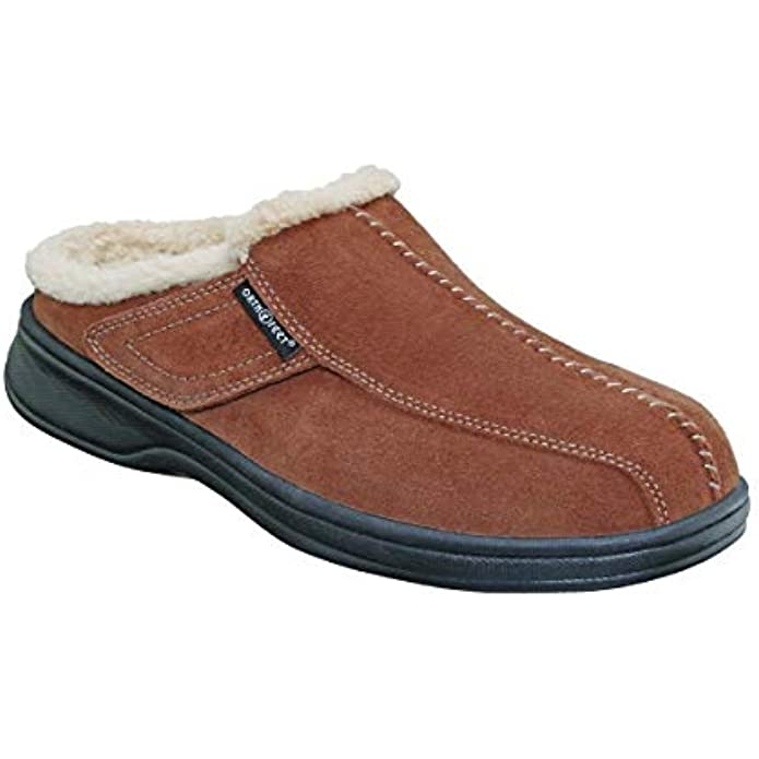 Orthofeet Proven Plantar Fasciitis & Foot Pain Relief Arch Support Orthopedic Men's Leather Slippers Asheville