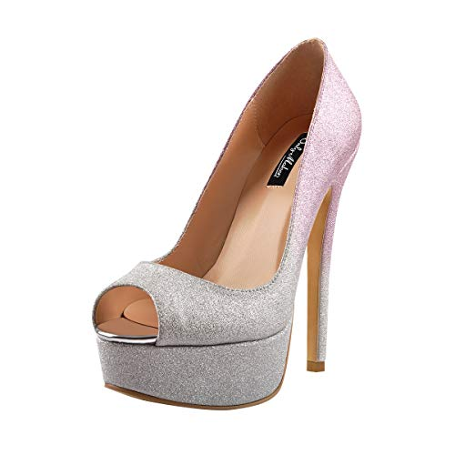 (Onlymaker Women's Sexy High Heels Peep Toe Slip On Platform Pumps Stiletto Dress Party Wedding Shoes Silver Pink US 13)