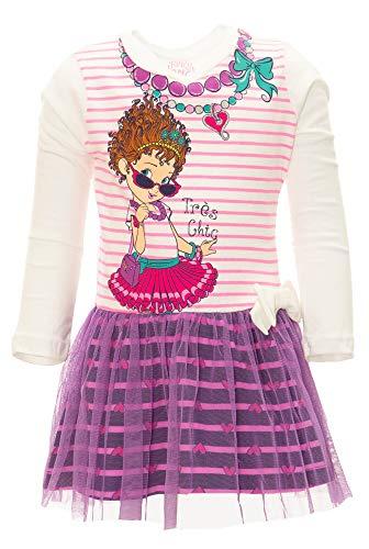 Disney Fancy Nancy Toddler Girls' Long Sleeve Tulle Dress (4T White)