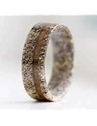 Natural Deer Antler Ring with Koa Wood Inlay - Unisex Mens Womens Wedding Ring Engagement Band