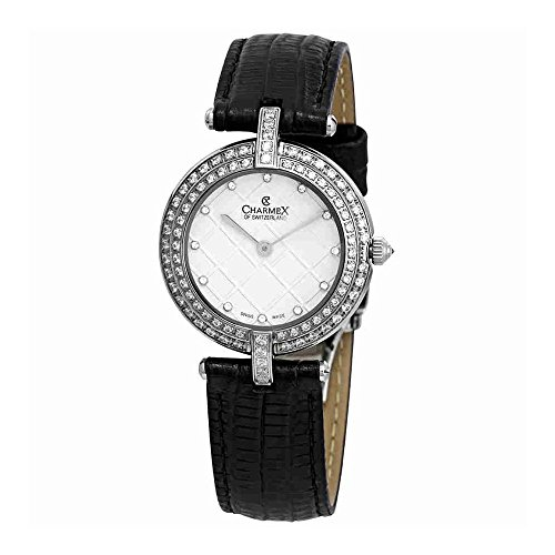 Charmex Crystal White Dial Black Leather Ladies Watch 6401