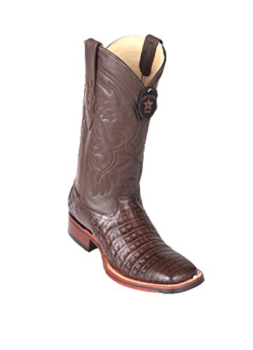 Men's Wide Square Toe Brown Genuine Leather Caiman Belly Skin Western Boots