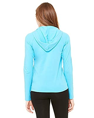 Bella Ladies' Cotton/Spandex 1/2 Zip Hooded Pullover 875, 2X-Large, Turquoise
